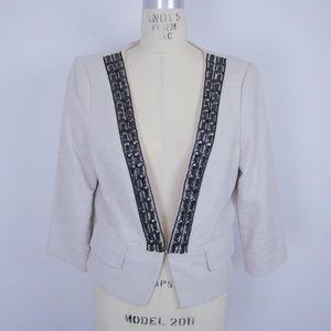 Tibi Blazer Jacket Embellished Front Metal Chain